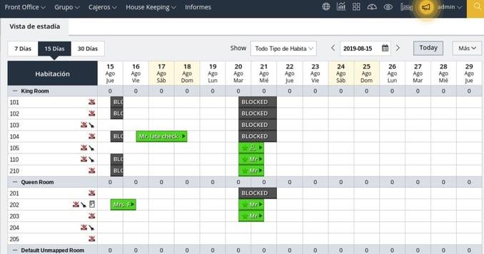 Imagen de PMS, property management system, una de las herramientas de gestion de tecnologia que ofrece iP Hoteles, que permite la visualizacion de habitaciones, su disponibilidad, entre otras actividades dentro de la
